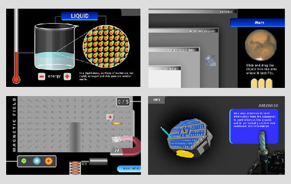 "This is a block of four screen shots, one from each of the IBEX online games and activities. The upper left image is from ""States of Matter."" The upper right image is from ""Sorting the Universe."" The lower left image is from ""Magnetic Pinball."" The lower right image is from ""Spin the Spacecraft."""