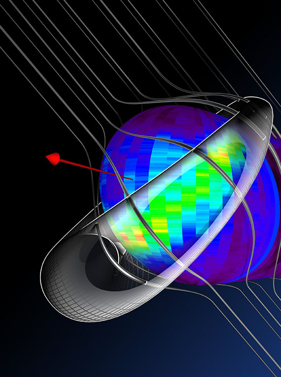 "This is a 3–dimensional diagram of the ""Retention Region,"" with the region shown as a ""life preserver"" around our heliosphere bubble along with the original IBEX Ribbon image.  The interstellar magnetic field lines are shown running from upper left to lower right around our heliosphere, and the area where the field lines ""squeeze"" our heliosphere corresponds to the Ribbon location. The red arrow at the front shows the direction of travel of our Solar System."