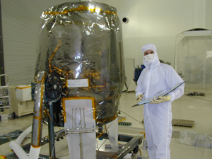 Jeff Ehrsam with Part of the IBEX Spacecraft Propulsion System