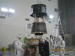 Fueled, Completed Stack in Clean Room Being Hoisted on to Spin Balance Table