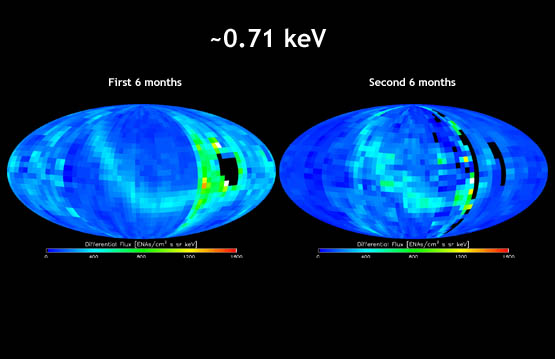 "IBEX map showing energetic neutral atom distributions for the first six months of the IBEX mission compared side by side to the map for the second six months at the 0.71 kiloelectron volt energy level. The energetic neutral atom ""ribbon"" was detected in the second set of maps as in the first set, but changes in the ribbon can be seen."