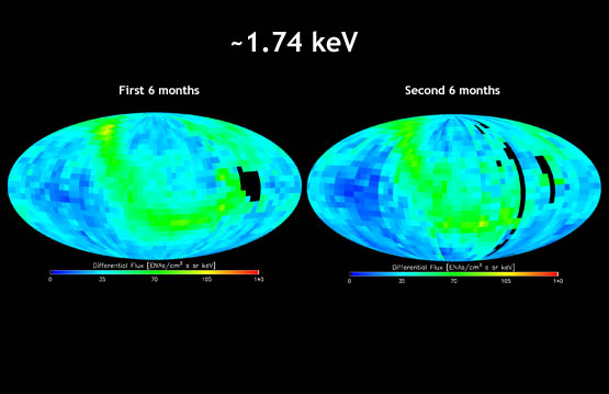 "IBEX map showing energetic neutral atom distributions for the first six months of the IBEX mission compared side by side to the map for the second six months at the 1.74 kiloelectron volt energy level. The energetic neutral atom ""ribbon"" was detected in the second set of maps as in the first set, but changes in the ribbon can be seen."