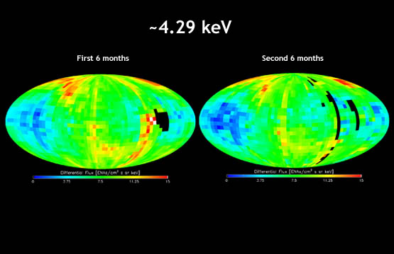 "IBEX map showing energetic neutral atom distributions for the first six months of the IBEX mission compared side by side to the map for the second six months at the 4.29 kiloelectron volt energy level. The energetic neutral atom ""ribbon"" was detected in the second set of maps as in the first set, but changes in the ribbon can be seen."